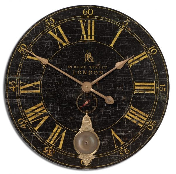 "Uttermost Bond Street 30"" Black Wall Clock"
