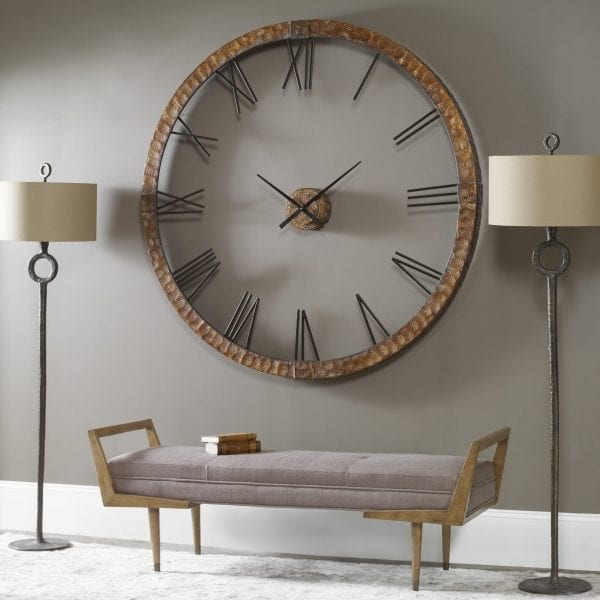 """Uttermost Amarion 60"""" Copper Wall Clock"""