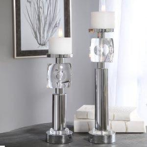 Uttermost Kyrie Nickel Candleholders, Set/2