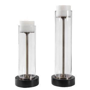 Uttermost Charvi Glass Candleholders, Set/2