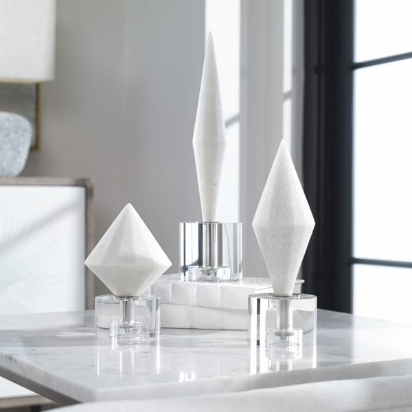 Uttermost Alize White Stone Sculptures S/3