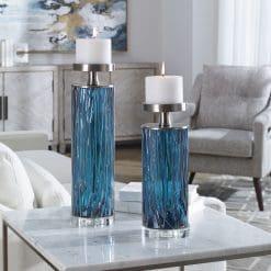 Uttermost Almanzora Teal Glass Candleholders S/2