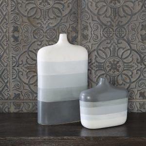 Uttermost Guevara Striped Gray Vases, S/2