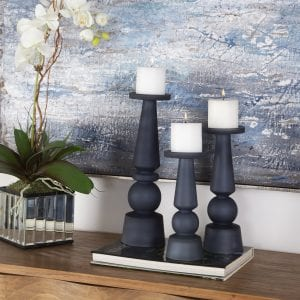 Uttermost Cassiopeia Blue Glass Candleholders, S/3
