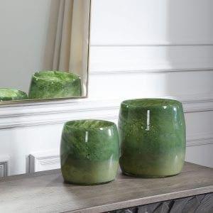 Uttermost Matcha Green Glass Vases, S/2