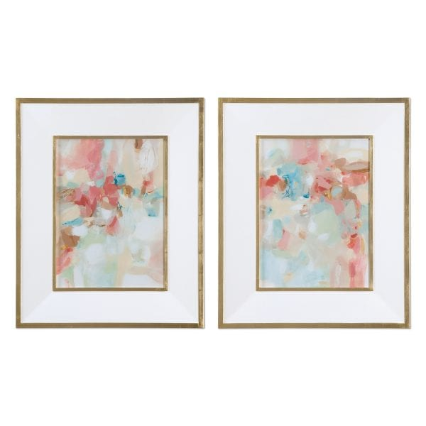 Uttermost A Touch Of Blush And Rosewood Fences Art, S/2