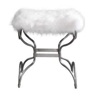Uttermost Channon White Fur Small Bench