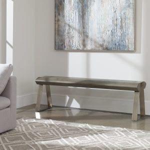 Uttermost Acai Light Gray Bench
