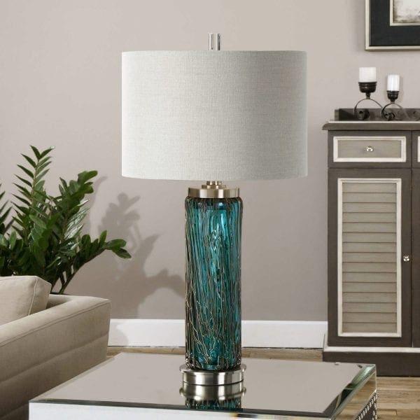 Uttermost Almanzora Blue Glass Lamp