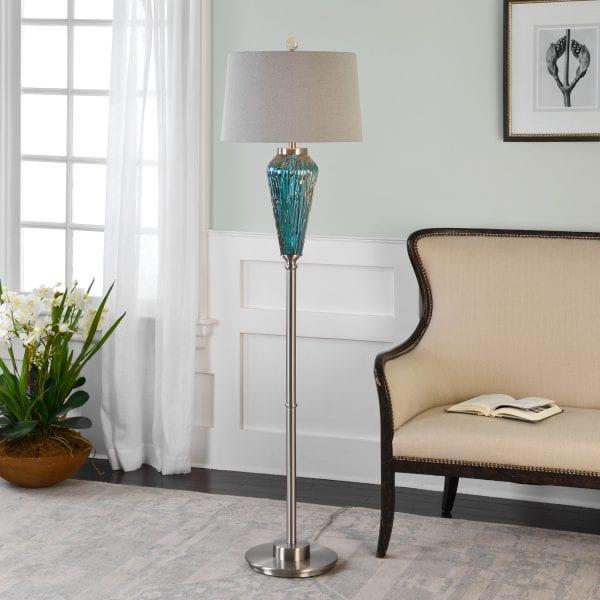 Uttermost Almanzora Blue Glass Floor Lamp
