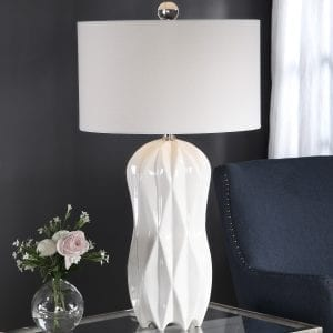 Uttermost Malena Glossy White Table Lamp