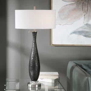 Uttermost Jothan Frosted Black Table Lamp
