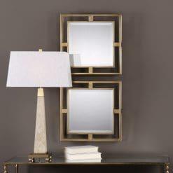 Uttermost Allick Gold Square Mirrors S/2