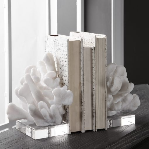 Uttermost Charbel White Bookends, Set/2