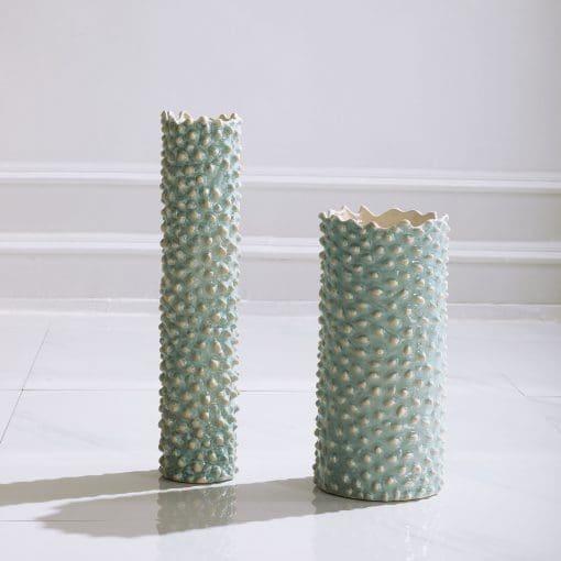 Uttermost Ciji Aqua Ceramic Vases, S/2