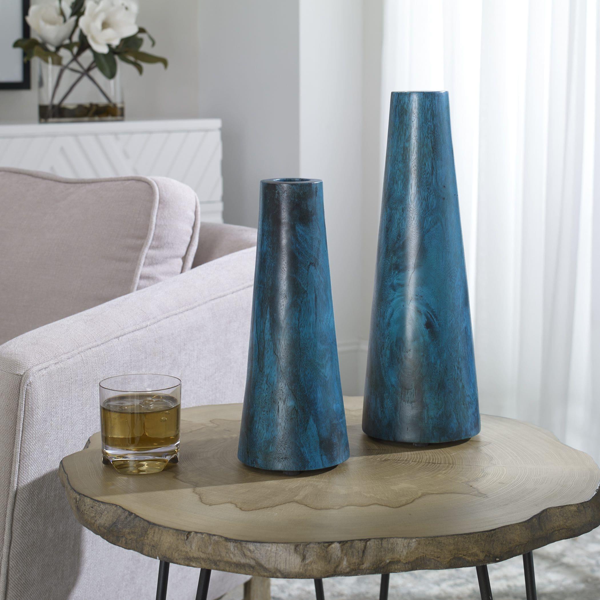Uttermost Mambo Blue Vases, S/2