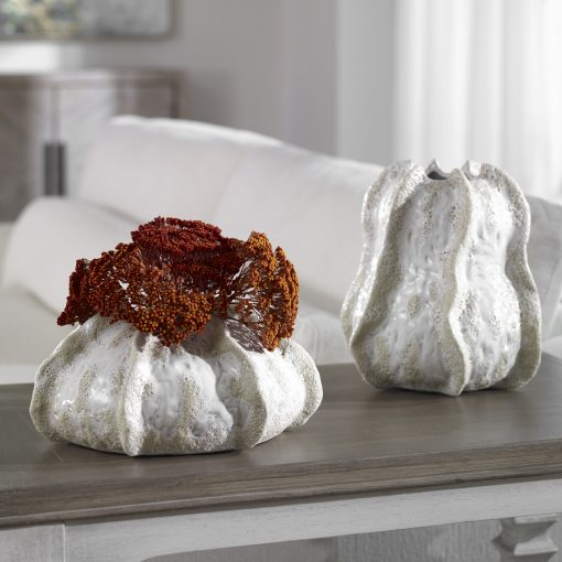 Uttermost Urchin Textured Ivory Vases, S/2