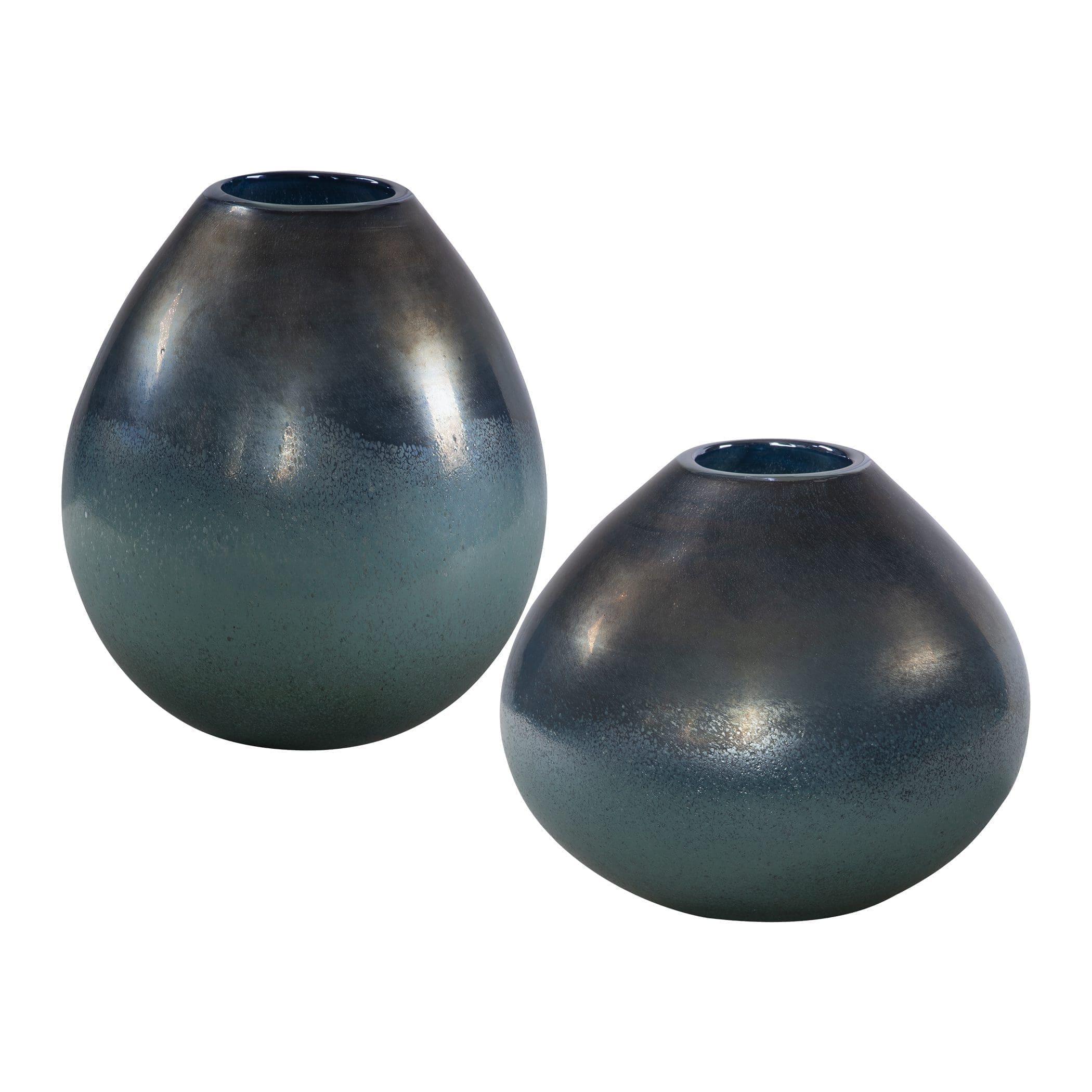 Uttermost Rian Aqua Bronze Vases, S/2