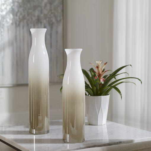 Uttermost Blur Ivory Beige Vases, S/2