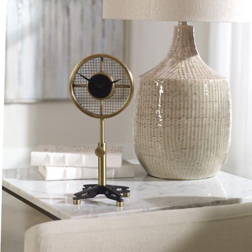 Uttermost Gio Brass Table Clock