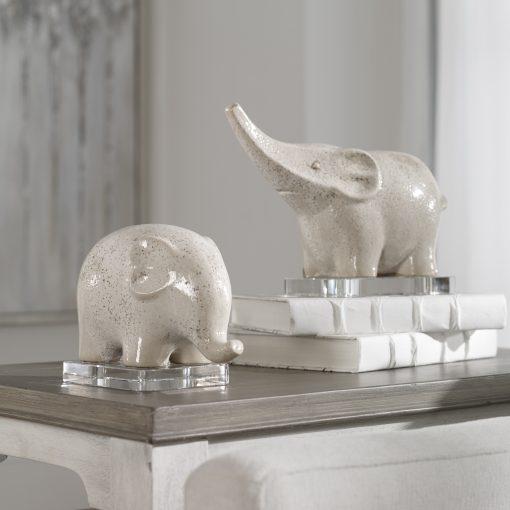 Uttermost Kyan Ceramic Elephant Sculptures, S/2