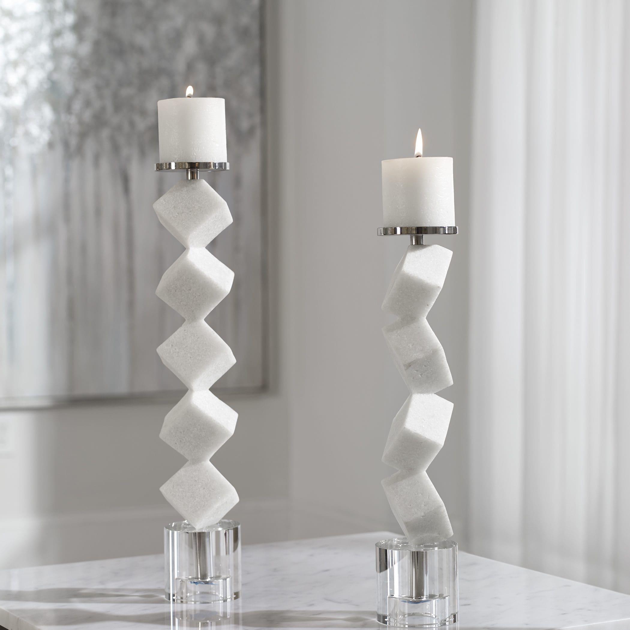 Uttermost Casen Marble Cube Candleholders, S/2