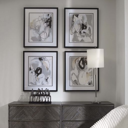 Uttermost Tangled Threads Abstract Framed Prints, S/4