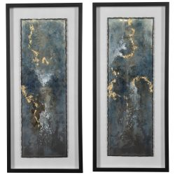 Uttermost Glimmering Agate Abstract Prints, S/2
