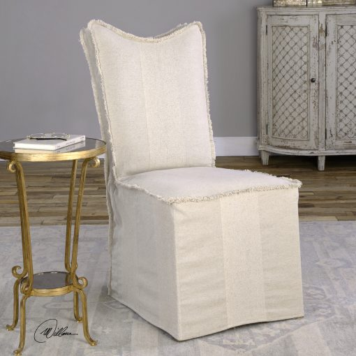 Uttermost Lenore Armless Chairs, Flax, Set Of 2