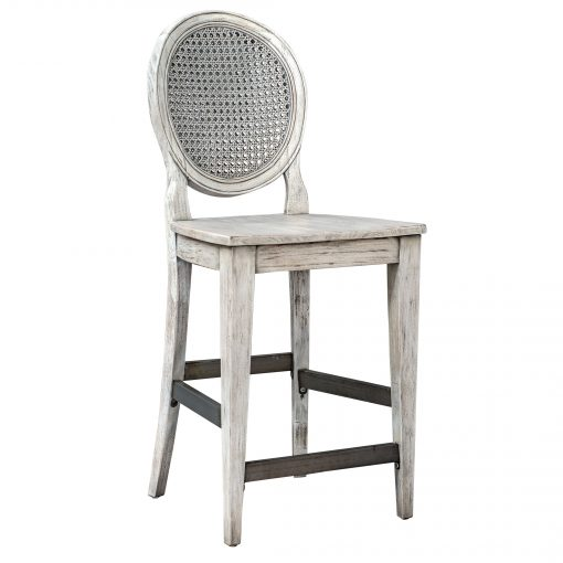 Uttermost Clarion Aged White Counter Stool