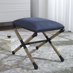 Uttermost Firth Small Navy Fabric Bench