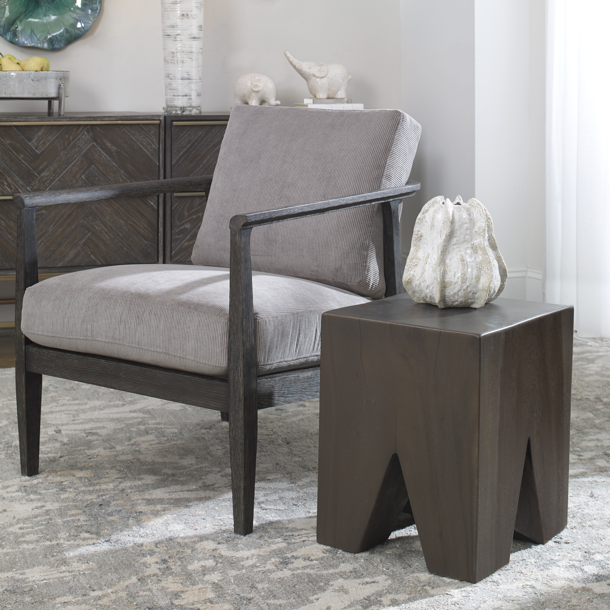 Uttermost Armin Solid Wood Accent Stool