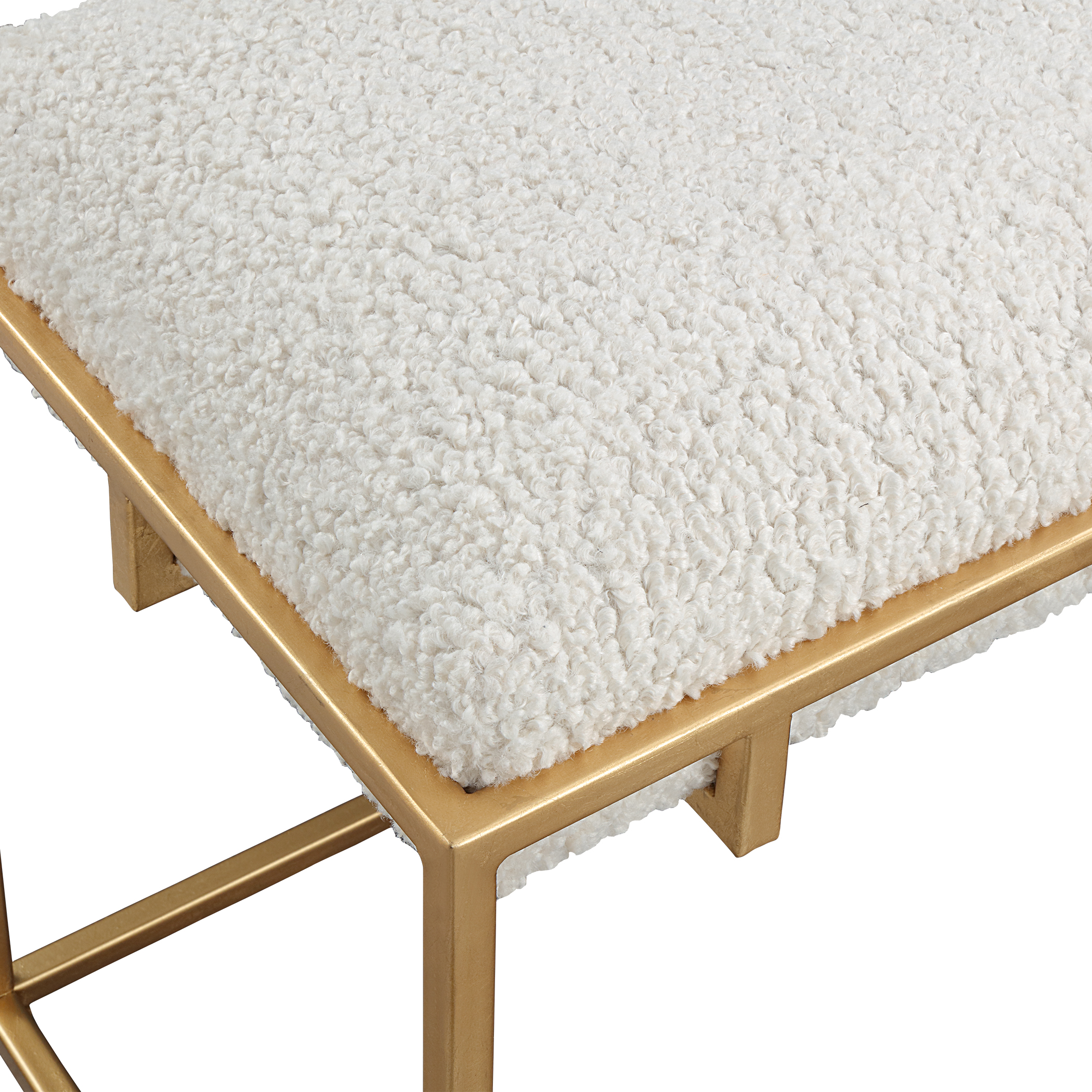 Uttermost Paradox Small Gold & White Shearling Bench