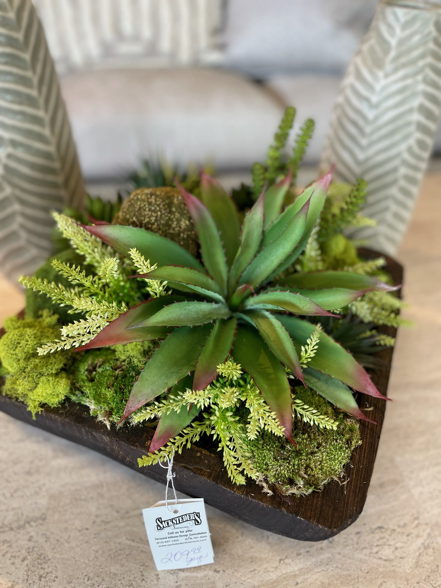 Succulent natural designed arrangement