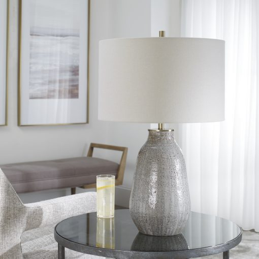 Uttermost Monacan Gray Textured Table Lamp