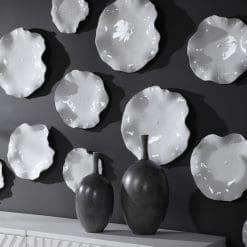 Uttermost Abella Ceramic Wall Decor, S/3, White