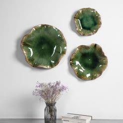 Uttermost Abella Green Ceramic Wall Decor, S/3