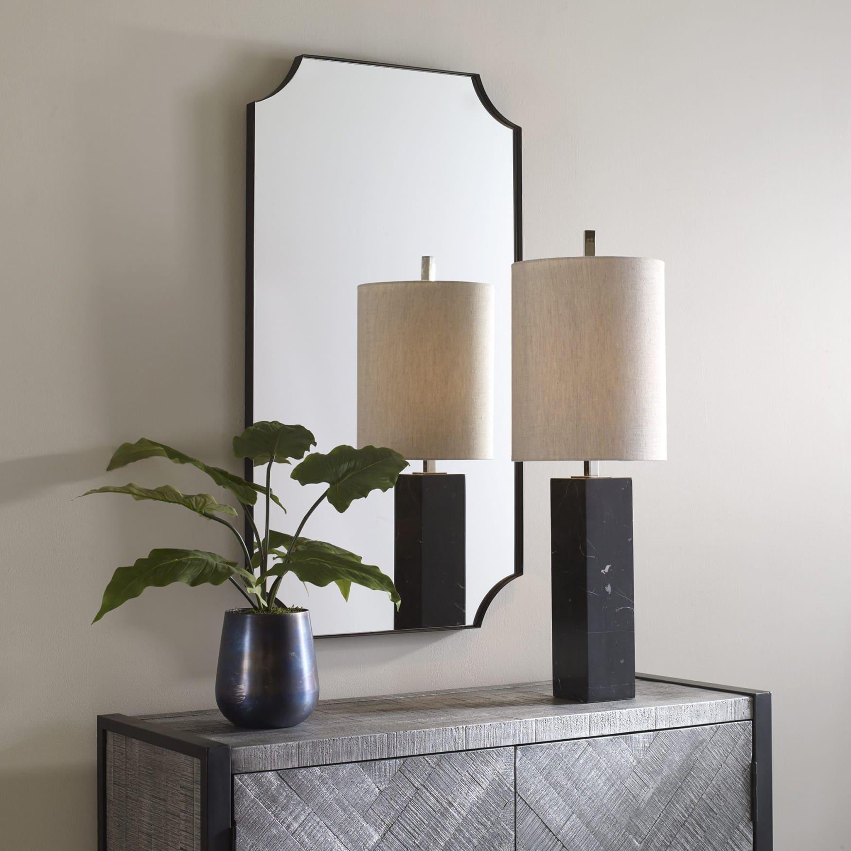 Uttermost Lennox Black Scalloped Corner Mirror