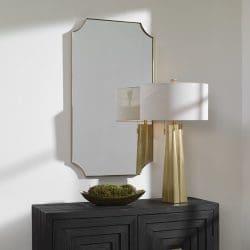 Uttermost Lennox Brass Scalloped Corner Mirror