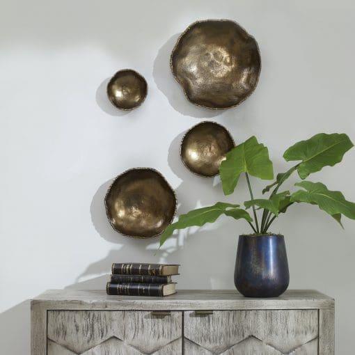 Uttermost Lucky Coins Brass Wall Bowls, S/4