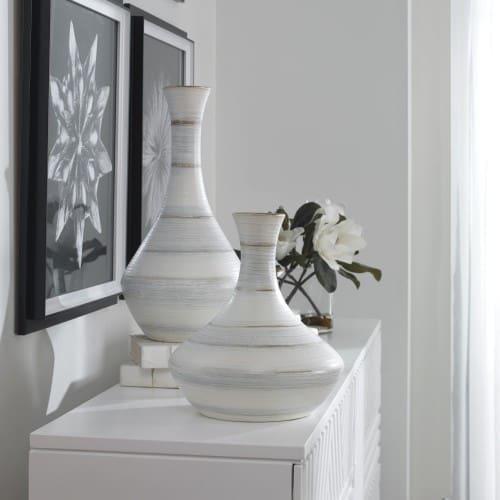 Uttermost Potter Fluted Striped Vases, S/2