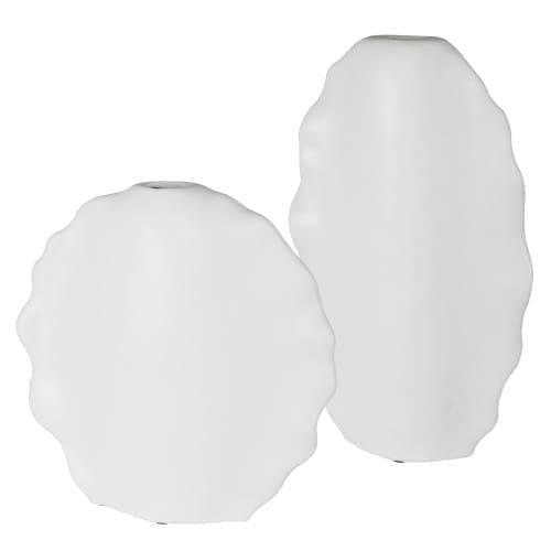 Uttermost Ruffled Feathers Modern White Vases, S/2