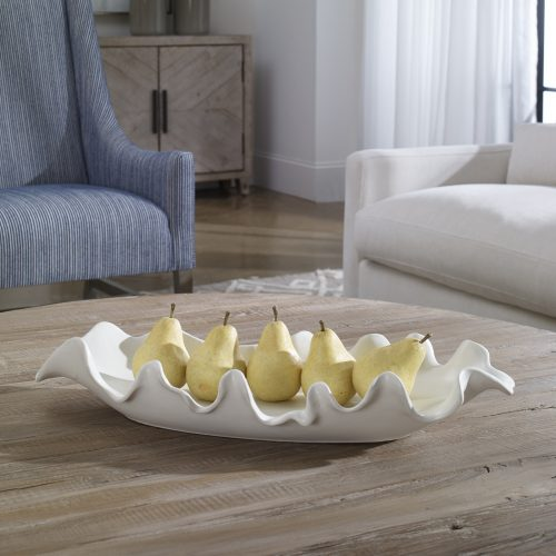 Uttermost Ruffled Feathers Modern White Bowl