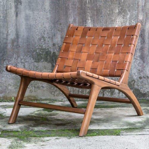 Uttermost Plait Woven Leather Accent Chair