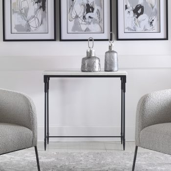 Uttermost Bourges White Marble Console Table