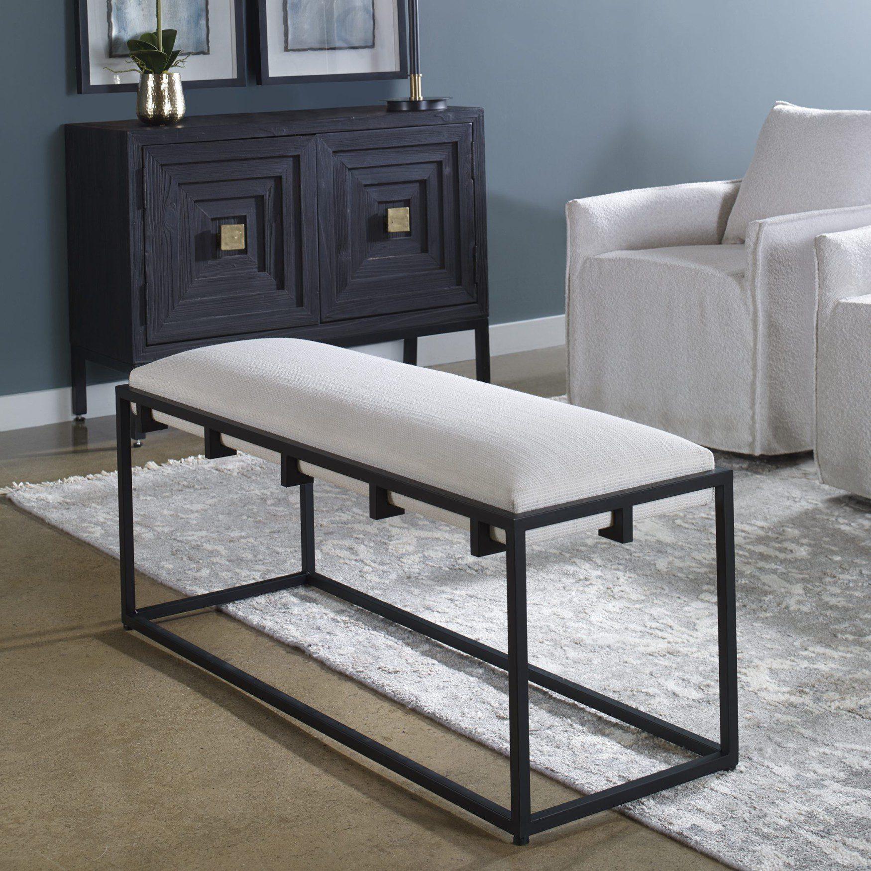 Uttermost Paradox Iron & Fabric Bench
