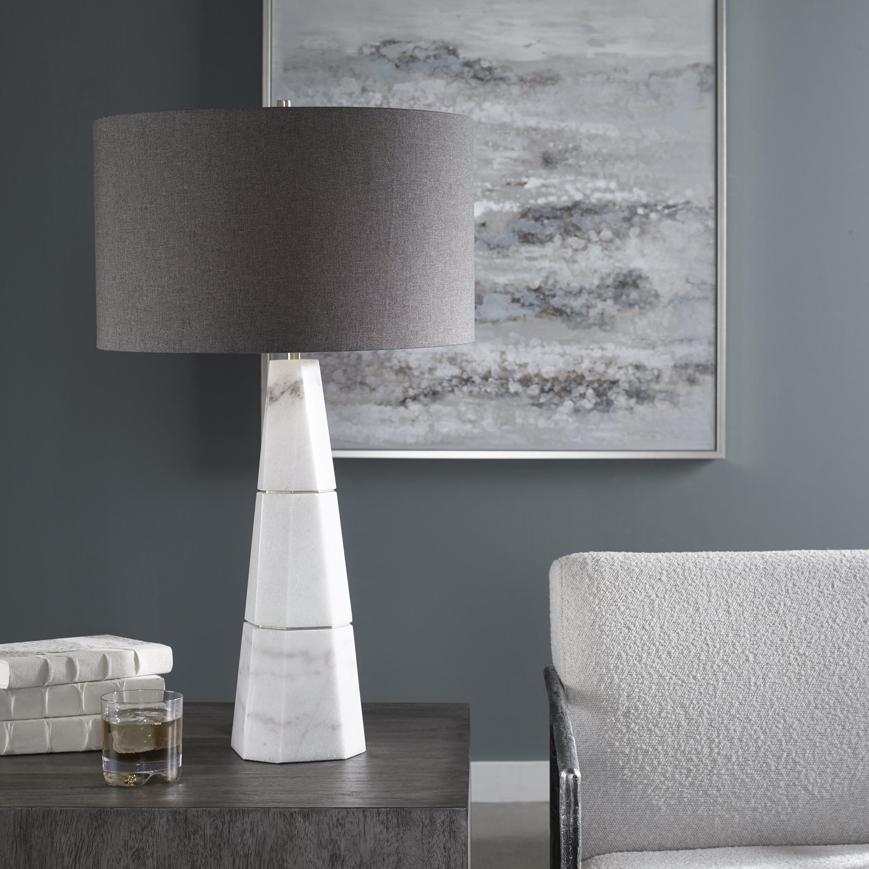 Uttermost Citadel White Marble Table Lamp