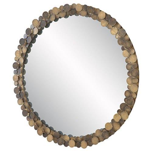 Uttermost Dinar Round Aged Gold Mirror