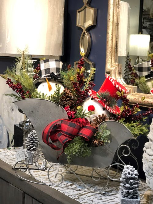 Snowman sleigh arrangement