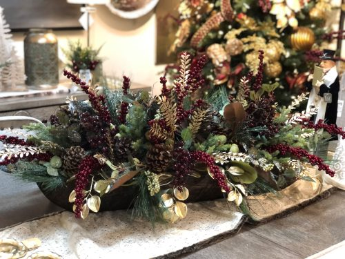 Burgundy and silver holiday floral